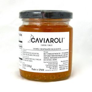 Pearls of Olive Oil with Piment d'Espelete by Caviaroli (Spain)